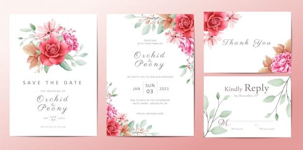 Insieme di carta romantico del modello dell'invito di nozze dei fiori Vettore Premium