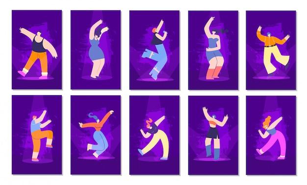 Insieme di carte piano dell'invito di stile al neon della gente della discoteca Vettore Premium