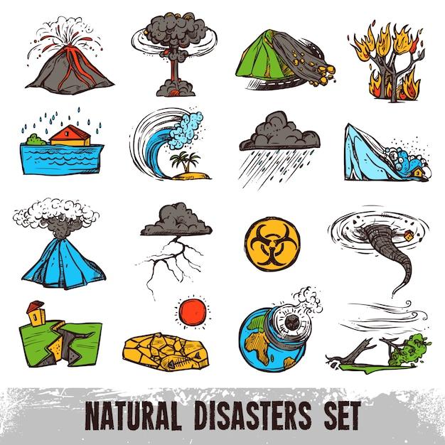Insieme di colori di disastri naturali Vettore gratuito