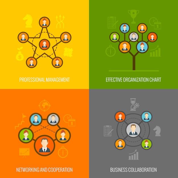 Insieme di composizione di elementi piatti di persone connesse Vettore gratuito