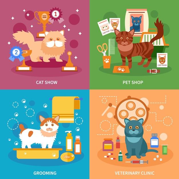 Insieme di concetti di gatti Vettore gratuito