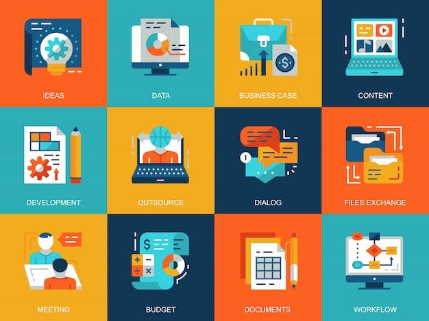 Insieme di concetti di icone di gestione di progetto concettuale piatta Vettore Premium