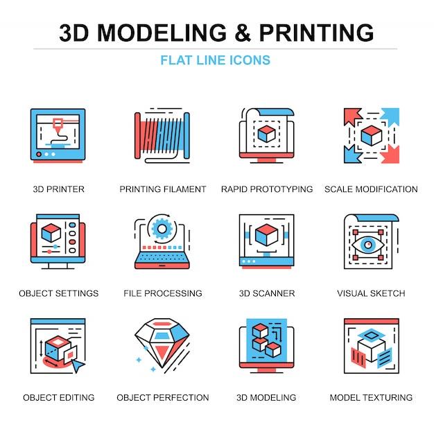 Insieme di concetti di icone di stampa 3d e modellazione linea piatta Vettore Premium