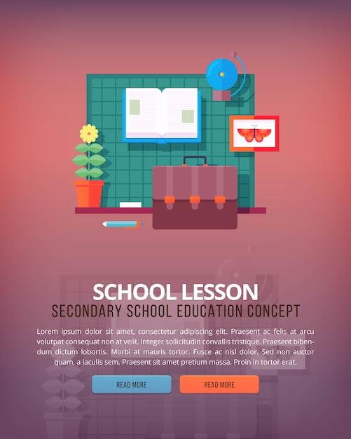 Insieme di concetti di illustrazione per lezione di scuola e aula. illustrazioni di concetto di educazione e scienza. Vettore Premium