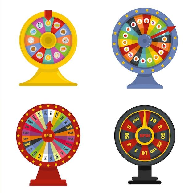 Insieme di concetto dell'insegna della ruota di rotazione Vettore Premium