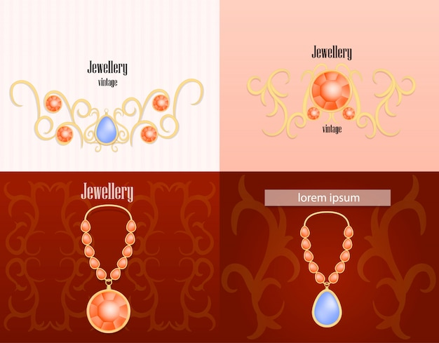 Insieme di concetto dell'insegna di lusso della donna dei gioielli Vettore Premium