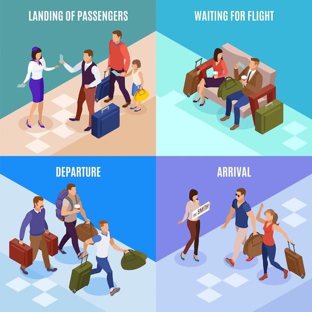 Insieme di concetto della gente 2x2 di viaggio dell'atterraggio di partenza di arrivo illustrato icone quadrate dei passeggeri isometrico Vettore gratuito