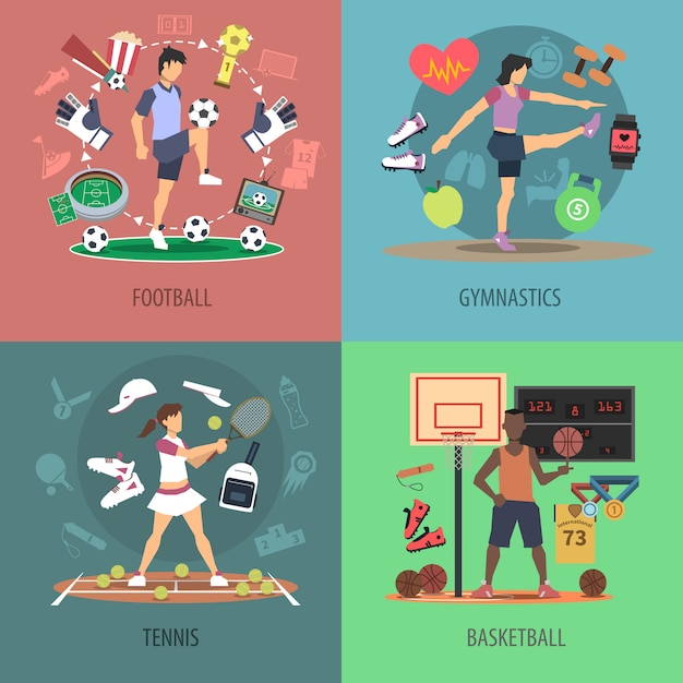 Insieme di concetto di progetto di persone di sport Vettore gratuito