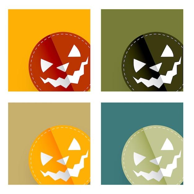 Insieme Di Disegni Colorati Della Carta Di Halloween Scaricare
