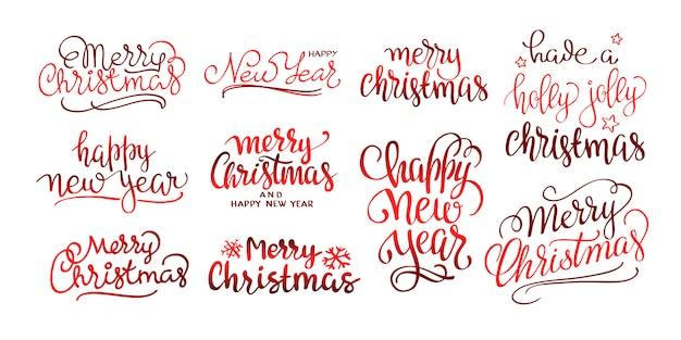Insieme di disegno di lettering calligrafico di buon natale testo Vettore gratuito