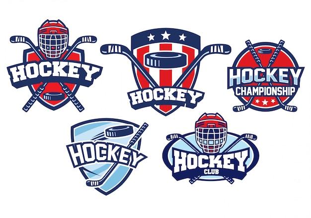 Insieme di disegno di marchio del hockey Vettore Premium
