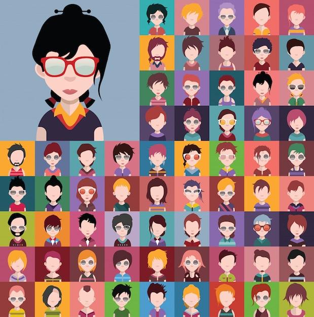 Insieme di diversi avatar maschili e femminili vector Vettore Premium