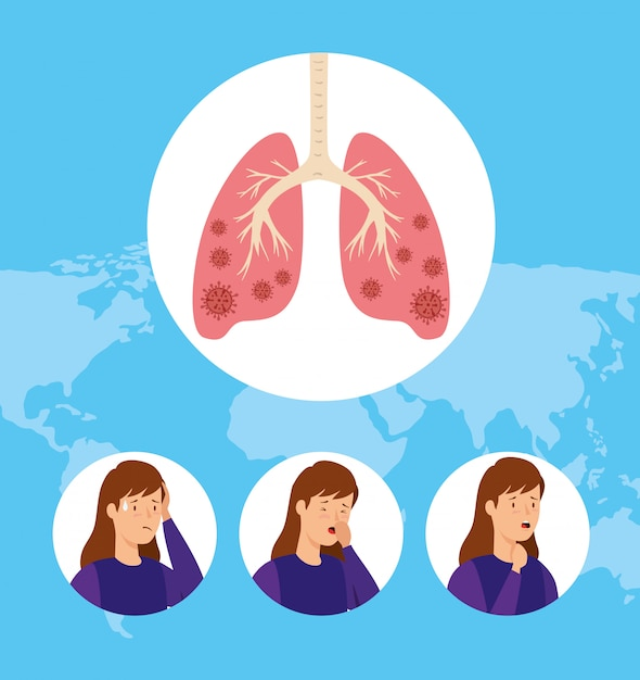 Insieme di donne che tossiscono e polmoni infetti Vettore gratuito