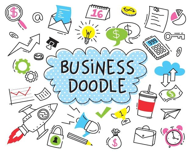 Insieme di doodle di affari su priorità bassa bianca Vettore Premium