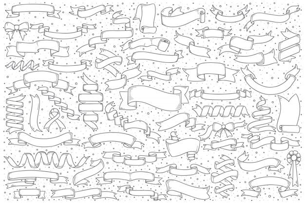 Insieme di doodle di banner della barra multifunzione Vettore Premium