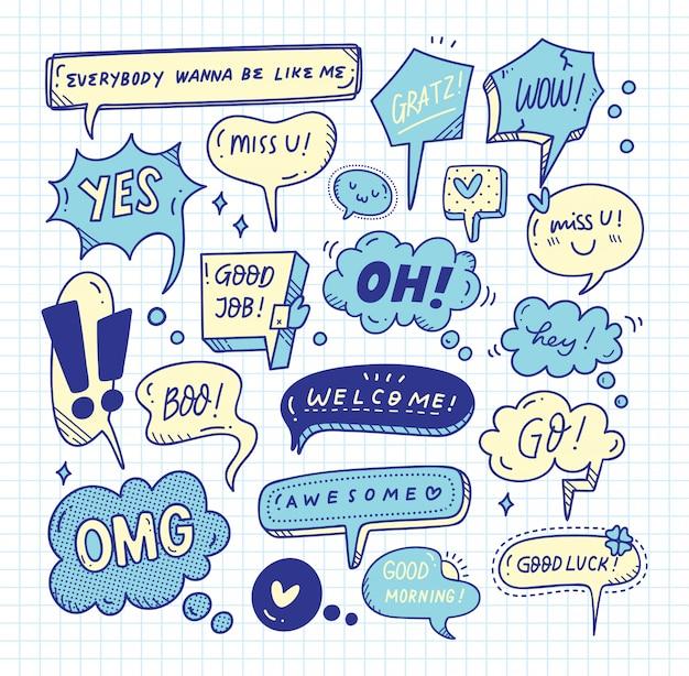 Insieme di doodle di bolla di discorso sveglio Vettore Premium