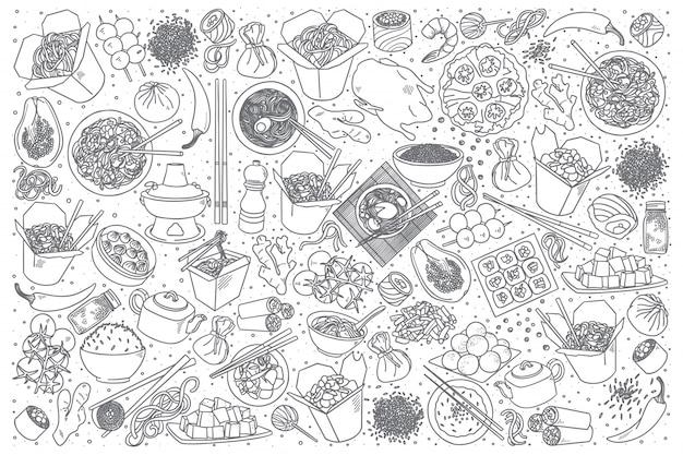 Insieme di doodle di cibo cinese Vettore Premium