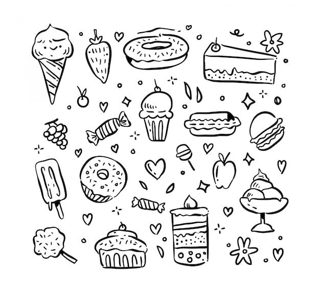 Insieme di doodle di dessert Vettore Premium