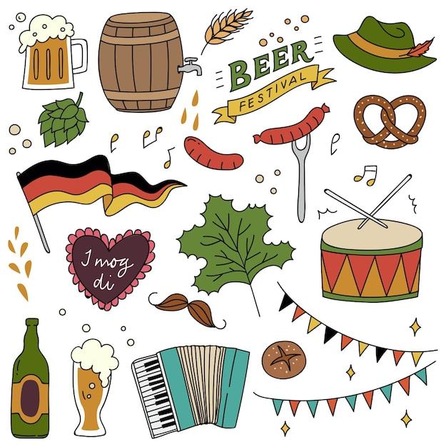Insieme di doodle di festival della birra Vettore Premium