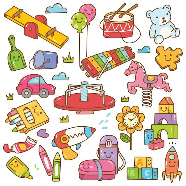 Insieme di doodle di giocattoli e attrezzature di asilo Vettore Premium