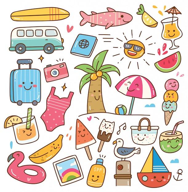 Insieme di doodle di kawaii di estate Vettore Premium