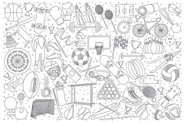 Insieme di doodle di sport Vettore Premium