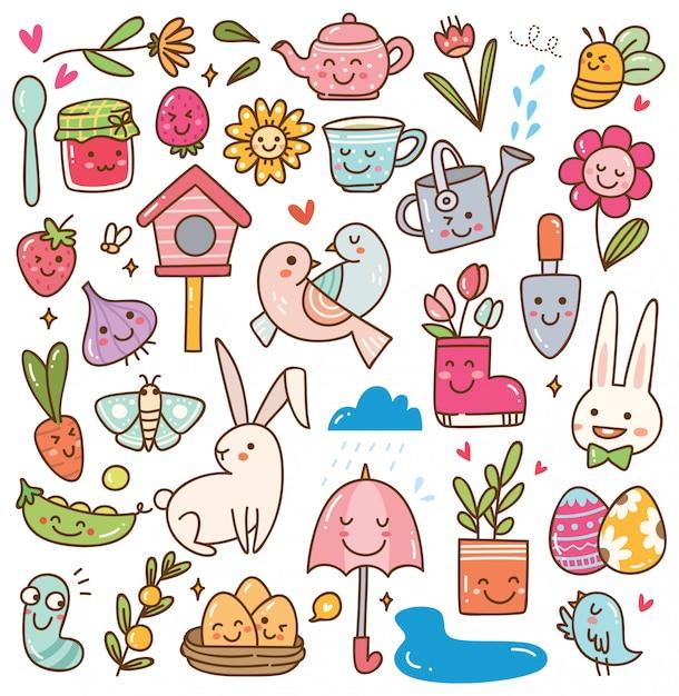 Insieme di doodle di stagione primavera kawaii Vettore Premium