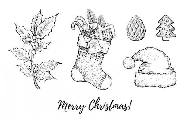 Insieme di doodle disegnato a mano di natale. stile di schizzo retrò merry xmas inciso. Vettore Premium