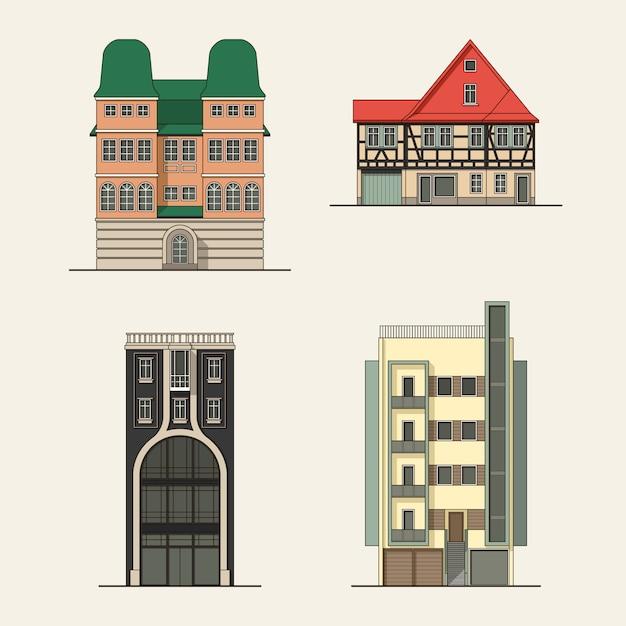 Insieme di edifici della città Vettore Premium