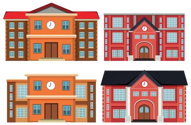 Insieme di edifici esterni Vettore gratuito