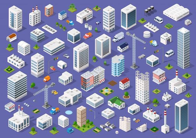 Insieme di edifici piani urbani Vettore Premium