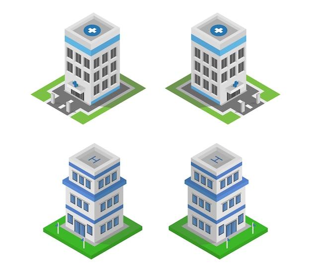 Insieme di edifici Vettore Premium