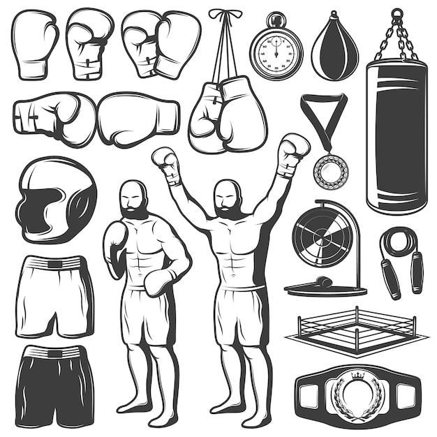 Insieme di elementi bianco nero di pugilato con i trofei dell'abbigliamento e dell'attrezzatura di sport del combattente isolati Vettore gratuito