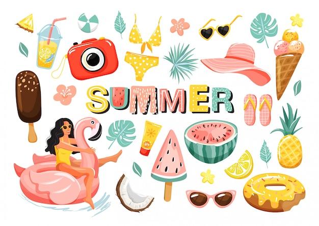 Insieme di elementi carini estate Vettore Premium