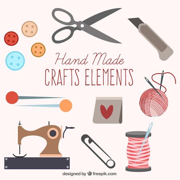 Insieme di elementi da cucire carino Vettore gratuito
