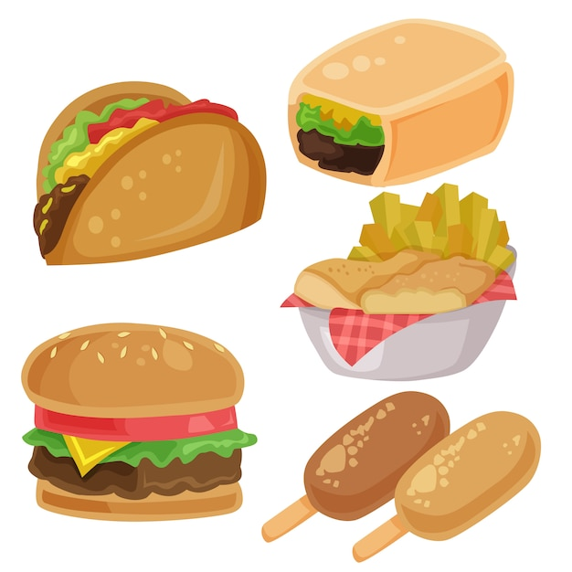 Insieme di elementi dei chip delle fritture del burrito dell'hamburger di clipart di vettore dell'alimento spazzatura Vettore Premium