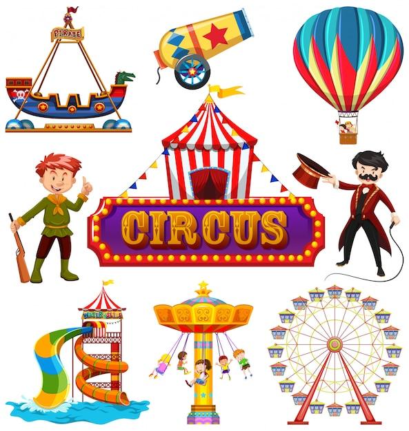 Insieme di elementi del circo Vettore gratuito