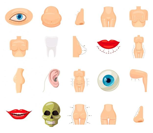 Insieme di elementi del corpo umano. insieme del fumetto del corpo umano Vettore Premium