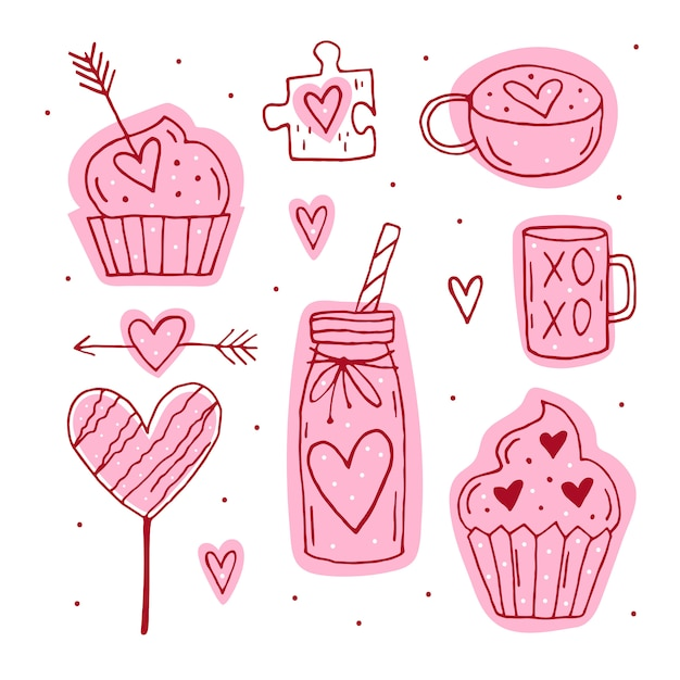 Insieme di elementi del giorno di san valentino, clipart, adesivi. tazza, puzzle, muffin, cocktail, freccia, caramelle, linea arte dei cuori. disegnati a mano s. Vettore Premium