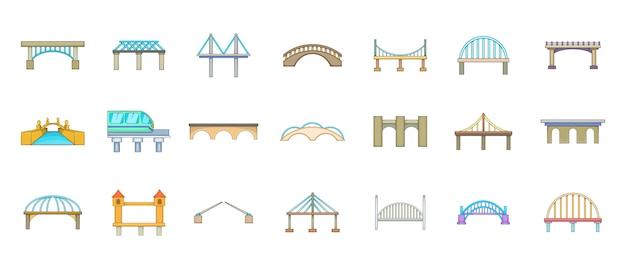 Insieme di elementi del ponte. insieme del fumetto degli elementi di vettore del ponte Vettore Premium
