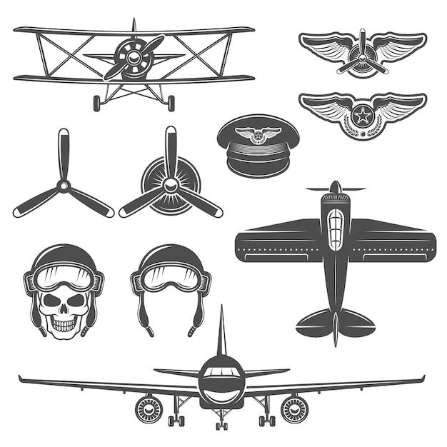 Insieme di elementi dell'aeroplano Vettore gratuito