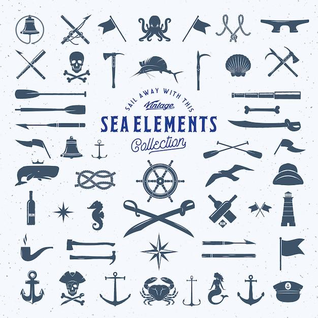 Insieme di elementi dell'icona nautica o del mare dell'annata con struttura misera. Vettore Premium