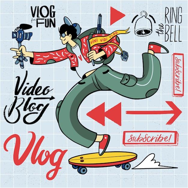Insieme di elementi dell'illustrazione di vlogging disegnato a mano Vettore Premium