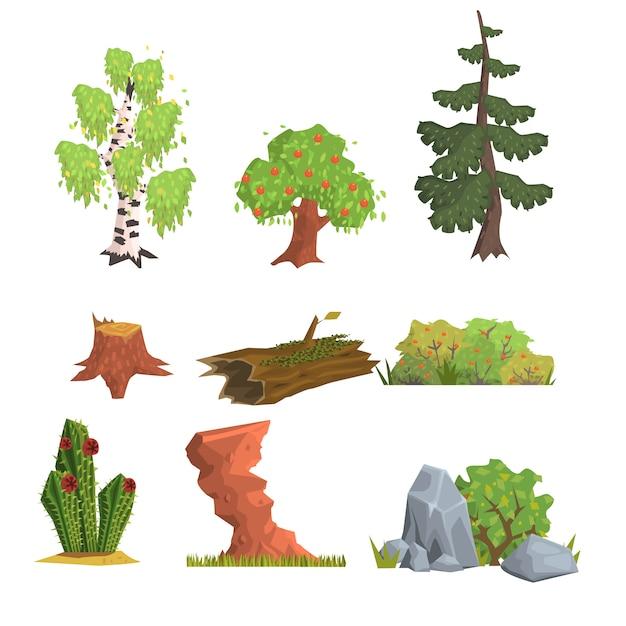 Insieme di elementi di alberi, cespugli e natura Vettore Premium
