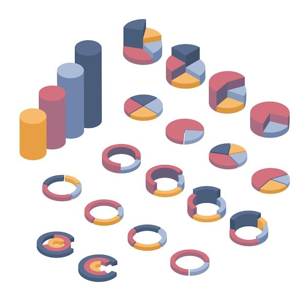 Insieme di elementi di business, infografica e diagrammi. Vettore Premium