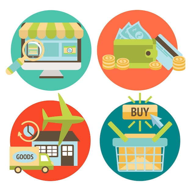 Insieme di elementi di business shopping online Vettore Premium