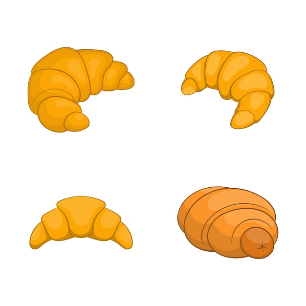 Insieme di elementi di cornetto. insieme del fumetto degli elementi di vettore del croissant Vettore Premium