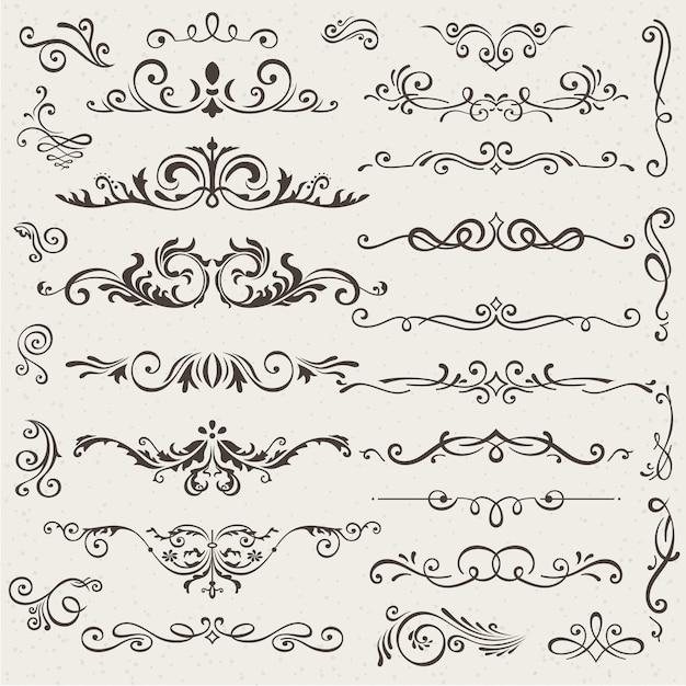 Insieme di elementi di design calligrafico e decorazioni di pagina. Vettore Premium
