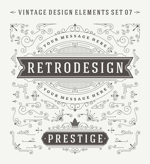 Insieme di elementi di design di decorazioni ornamenti d'epoca. Vettore Premium