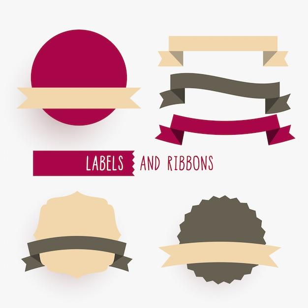 Insieme di elementi di design di nastri ed etichette vuote Vettore gratuito
